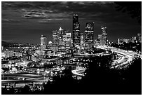 Seattle skyline at night. Seattle, Washington ( black and white)