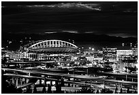 Qwest Field stadium and freeways at night. Seattle, Washington (black and white)