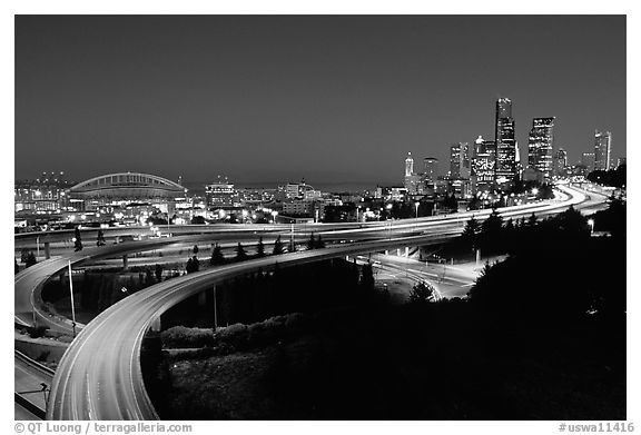 Seattle skyline, Qwest Field and freeways at dawn. Seattle, Washington (black and white)
