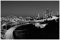 Seattle skyline, Qwest Field and freeways at dawn. Seattle, Washington ( black and white)