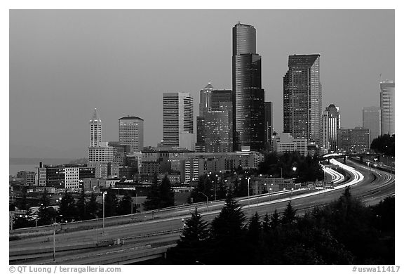 Seattle skyline and freeway at dawn. Seattle, Washington (black and white)