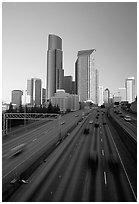 Freeway and downtown skyline, early morning. Seattle, Washington ( black and white)