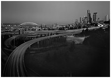 Freeway and skyline at dawn. Seattle, Washington (black and white)