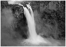 Snoqualmie Falls in the spring. Washington (black and white)