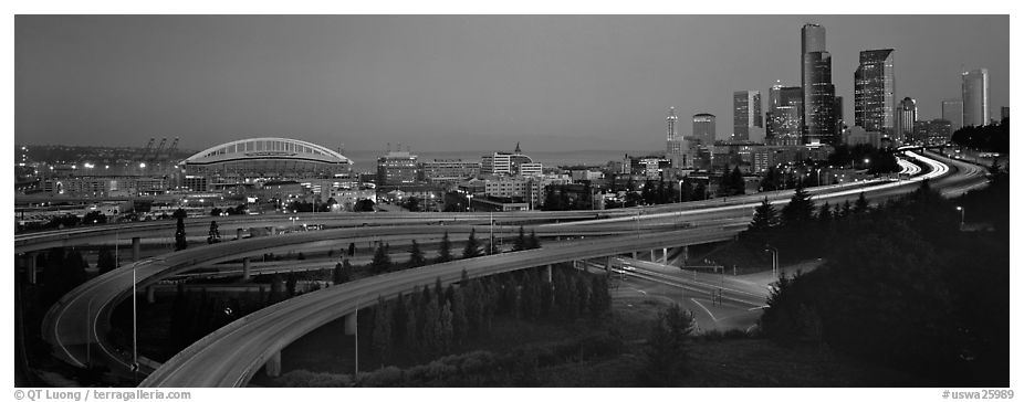 Seattle cityscape with highways at dawn. Seattle, Washington (black and white)