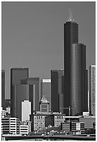Skyline with high-rise buildings. Seattle, Washington (black and white)