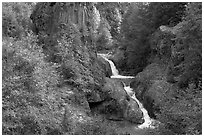 Muddy River spills over basalt falls in Lava Canyon. Mount St Helens National Volcanic Monument, Washington ( black and white)