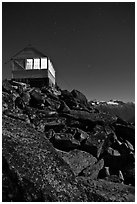 Moonlit fire lookout, Hidden Peak, Mount Baker Glacier Snoqualmie National Forest. Washington (black and white)