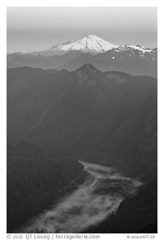 Dawn over fog-filled valley and Mt Baker, Mount Baker Glacier Snoqualmxie National Forest. Washington (black and white)