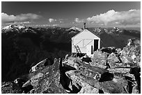 Fire lookout on Hidden Lake Peak, Mount Baker Glacier Snoqualmie National Forest. Washington ( black and white)