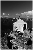 Fire lookout on top of mountain, Hidden Lake Peak. Washington (black and white)