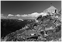 Mountaintop lookout, Hidden Lake Peak. Washington (black and white)
