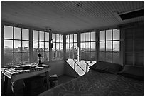 Inside Hidden Lake Lookout. Washington (black and white)