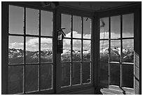 Mountains seen through windows of Hidden Lake Lookout. Washington (black and white)