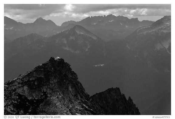 Hidden Lake Peak and lookout, Mount Baker Glacier Snoqualmie National Forest. Washington (black and white)