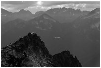 Hidden Lake Peak and lookout, Mount Baker Glacier Snoqualmie National Forest. Washington ( black and white)