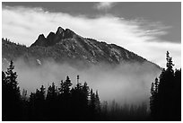 Whistler Mountain emerging from fog. Washington ( black and white)