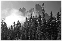 Liberty Bell Mountain seen from Washington Pass. Washington (black and white)