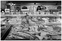Fresh fish for sale, Pike Place Market. Seattle, Washington ( black and white)