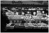 Fruit and vegetable stall, Pike Place Market. Seattle, Washington (black and white)