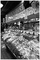 Pike Place Fish Market. Seattle, Washington ( black and white)