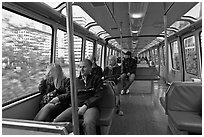 Riders in monorail. Seattle, Washington (black and white)