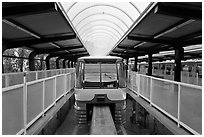Monorail at station. Seattle, Washington (black and white)
