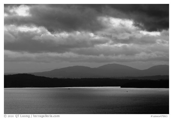 Puget Sound and Olympic Mountains at sunset. Olympic Peninsula, Washington (black and white)
