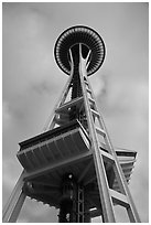 Space needle from the base. Seattle, Washington ( black and white)