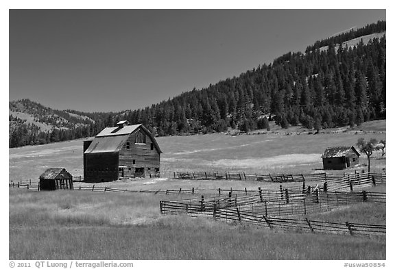 Barn and pasture in mountains. Washington