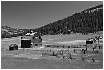 Barn and pasture in mountains. Washington (black and white)