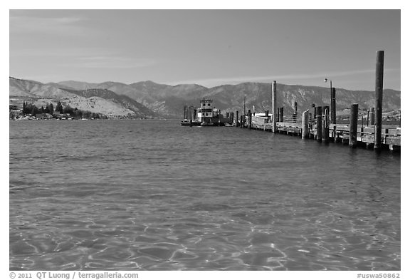 Pier and Lake Chelan, Chelan. Washington (black and white)