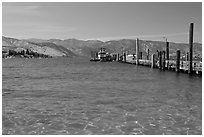 Pier and Lake Chelan, Chelan. Washington ( black and white)