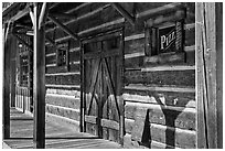Wooden building detail, Winthrop. Washington (black and white)