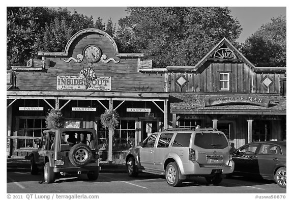 Stores in western style, Winthrop. Washington (black and white)