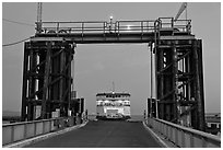 Ferry approaching through gate, Coupeville. Olympic Peninsula, Washington (black and white)