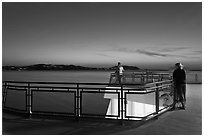 Ferry deck, landscape with motion blur at dusk. Olympic Peninsula, Washington ( black and white)