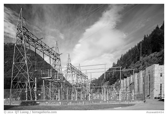 High voltage lines near Diablo powerhouse. Washington (black and white)