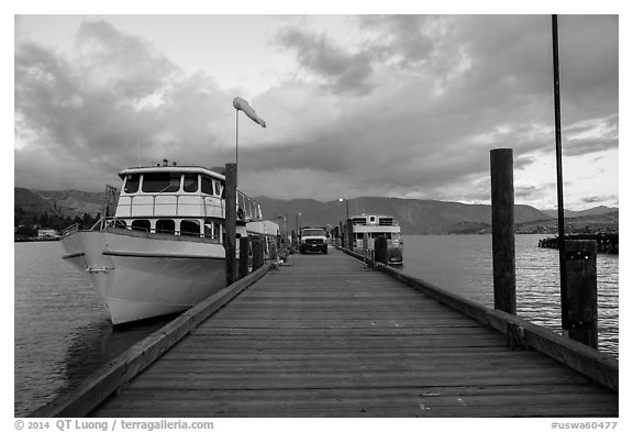 Deck with Lady of the Lake II ferry, Chelan. Washington (black and white)