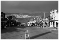Chelan Main Street and Lake Chelan. Washington ( black and white)
