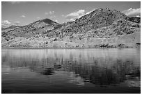 Dry hills reflected in Lake Chelan. Washington ( black and white)