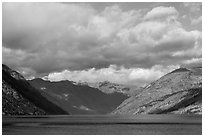 Lake Chelan and Cascades, morning. Washington ( black and white)