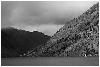 Sailboat, approaching storm, Lake Chelan. Washington ( black and white)