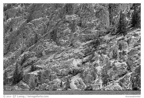 Cliffs bordering Lake Chelan. Washington (black and white)