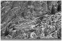 Cliffs bordering Lake Chelan. Washington ( black and white)