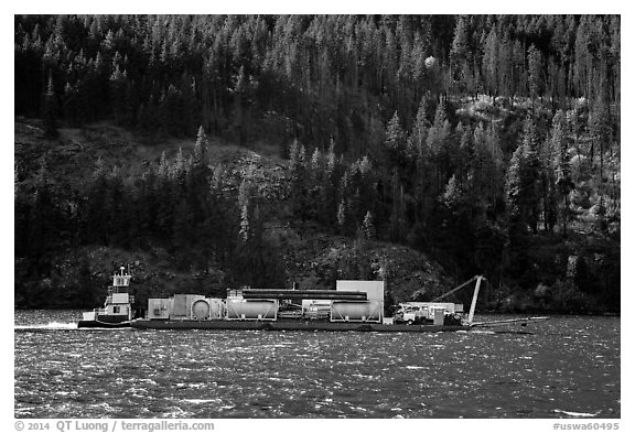 Barge on Lake Chelan. Washington (black and white)