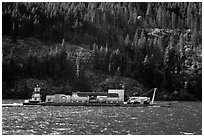 Barge on Lake Chelan. Washington ( black and white)