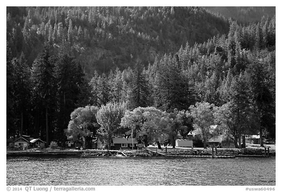 Lucerne landing, Lake Chelan. Washington (black and white)