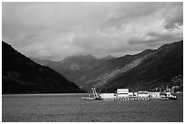 Barge and mountains, Lake Chelan. Washington ( black and white)
