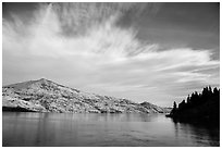 Arid hills and clouds, Lake Chelan. Washington ( black and white)
